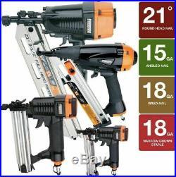4pc Air Nail Gun Combo Kit Framing Finish Brad Nailer Narrow Crown Stapler Bag