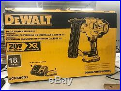 BRAND NEW DeWALT 20-Volt Max Lithium-Ion 18-Gauge Cordless Brad Nailer Kit