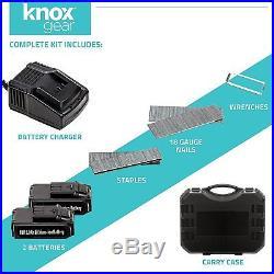 Cordless Air Finish Nail Gun Nailer Tool Kit 2 Batteries Set Charger 18V 2Ah