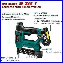 Cordless Brad Nailer NEU MASTER NTC0023 Rechargeable Nail Gun/Staple Gun for