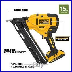 DEWALT DCN650D1 20-Volt 15-Gauge Cordless Angled Finish Nailer Kit NEW #6188-1