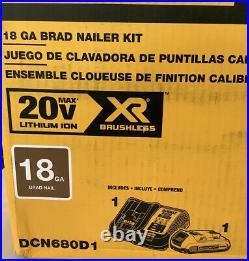 DeWALT 20V MAX Li-Ion XR Brushless 18 Gauge Cordless Brad Nailer Kit DCN680D1