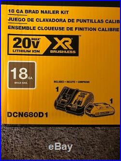 DeWALT DCN680D1 20-Volt Max Lithium-Ion 18-Gauge Cordless Brad Nailer Kit