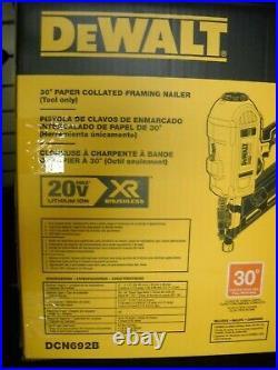 Dewalt DCN692B 20 volt XR 30 degree Cordless Framing Nailer Paper Collated NEW