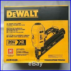 Dewalt DCN692B 20 volt XR 30 degree Paper Collated Framing Nailer (bare) NEW