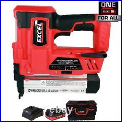 Excel 18V 2nd Fix Brad Nailer Stapler Nail Gun + 1 x 2.0Ah Battery Charger & Bag