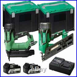 Hikoki Brushless Nail Gun Twinpack With 2x 5.0ah Battery, Charger And Carry Case