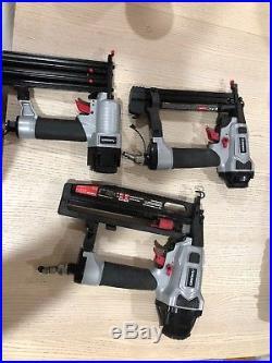 Husky Air Finish Nailer Nail Gun Kit 16 18-Gauge Finish Brad Crown Stapler Strip
