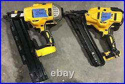 Lot Of 2 For Parts DEWALT 20V MAX Nailer Angled 15GA DCN650, DCN21PL 21 Degree