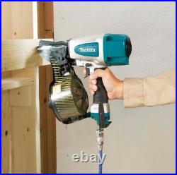 Makita AN613 Pneumatic Coil Nailer Air Pin Gun and 9000 2.3 50mm Flat Coil Nails
