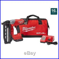 Milwaukee 18-Volt Cordless 16-Gauge Straight Finish Nailer Kit W Battery Charger