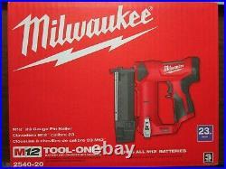 Milwaukee 2540-20 M12 23ga Cordless Pin Nailer (Tool Only) BRAND NEW (box dam)