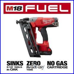 Milwaukee Cordless 16 Gauge Angled Finish Nailer Kit 18V 2.0Ah Battery Charger