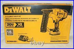 NEW DeWALT DCN680D1 20V MAX XR 18 Gauge Micro Nose Cordless Brad Nailer Kit