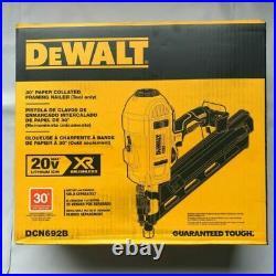 NEW Dewalt DCN692B 20 volt XR 30 degree Cordless Framing Nailer Paper Collated