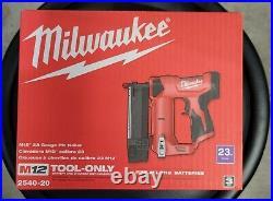 NIB Milwaukee Cordless M12 23 Gauge Cordless Pin Nailer 2540-20 Tool Only