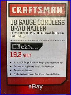 New CRAFTSMAN C3 19.2 Volt BRAD NAILER 18 Gauge LED 2 mode jam release belt hook