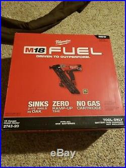 New Milwaukee M18 FUEL 15 Ga Brushless Finish Nailer 2743-20 Nail Gun 15G Tool