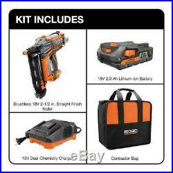 New Ridgid R09892K 18-V Brushless 16-Gauge 2-1/2 Straight Finish Nailer Kit