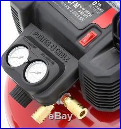 Portable Air Compressor 6 Gallon Nail Gun Brad Nailer Stapler Hose 150 PSI Light