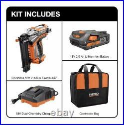 RIDGID 18V Hyperdrive 2-1/2 Straight Finish Nailer 16 Gauge Battery Charger Bag